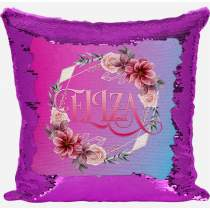 Floral Pink Sequin Cushion 424