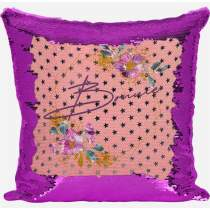 Floral Pink Sequin Cushion 112